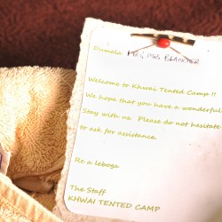 Khwai Tented Camp welcome letter